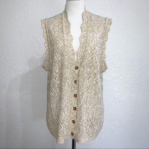 Vintage Koret Crochet Sweater Vest Boho Tan Cream